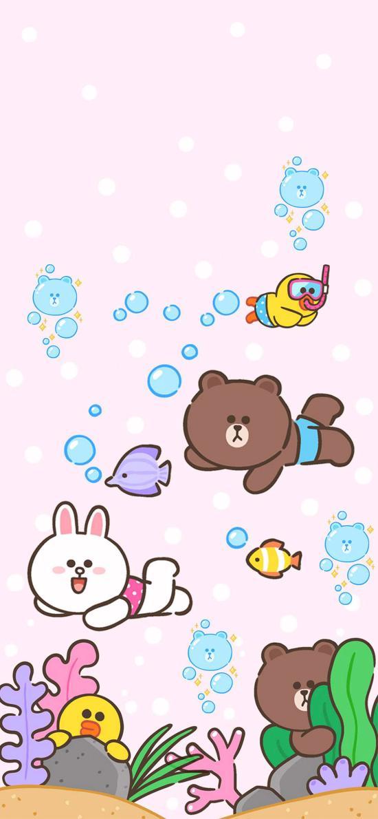 linefriends 布朗熊 可妮兔 游泳