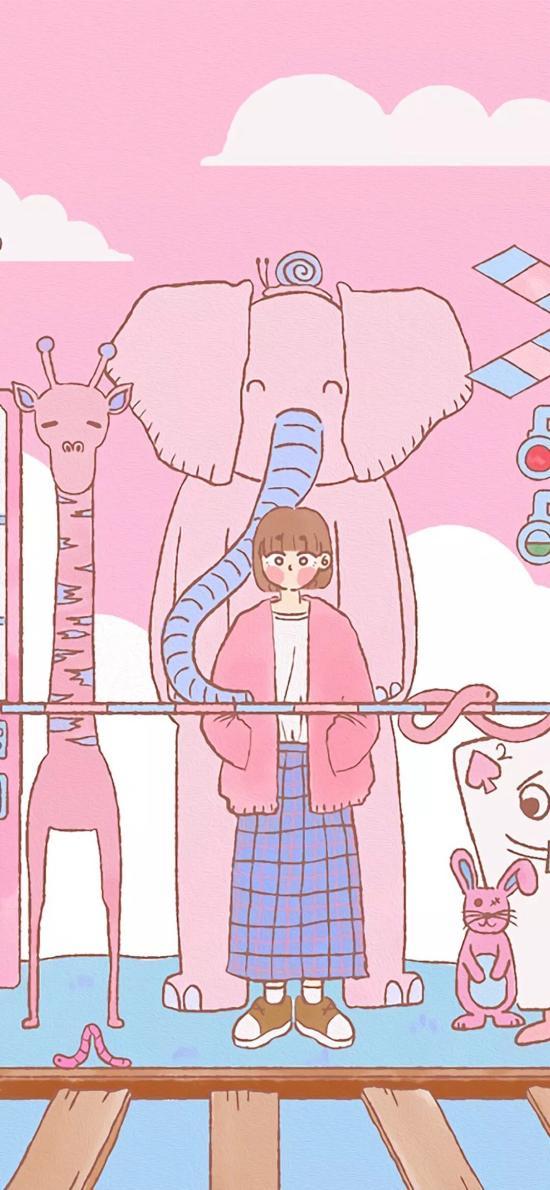 女孩 插画 粉色 大象 长颈鹿