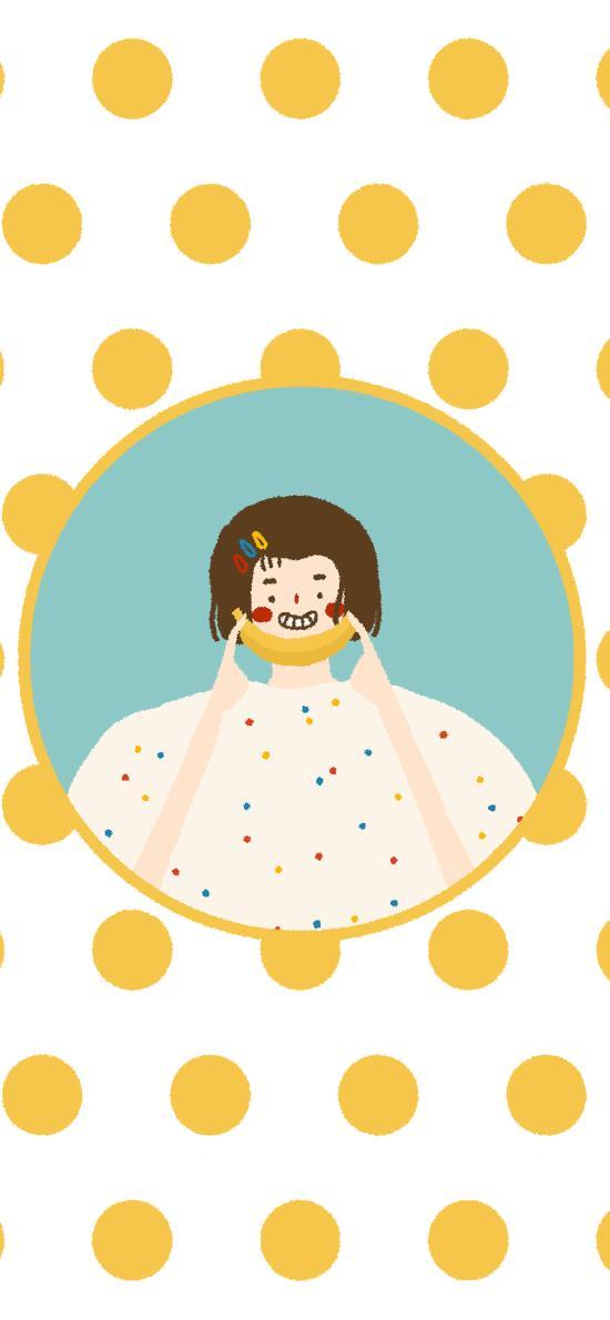 可爱 女孩 香蕉 绘画