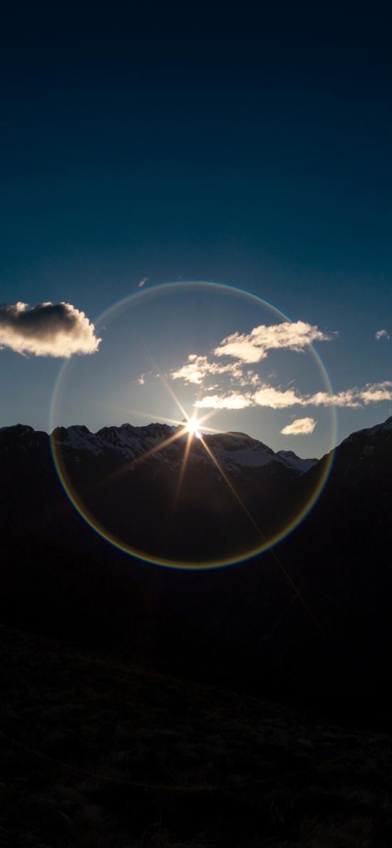 天空 光圈 山峰 自然