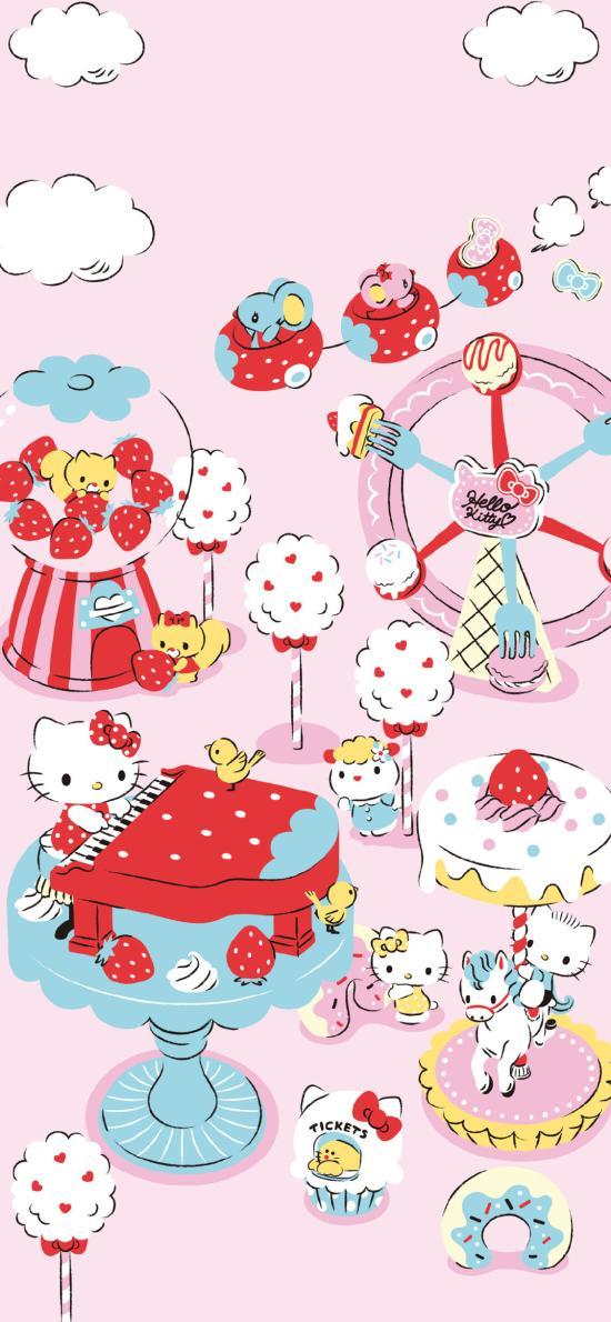 Hello Kitty 凯特猫 卡通 粉色 草莓