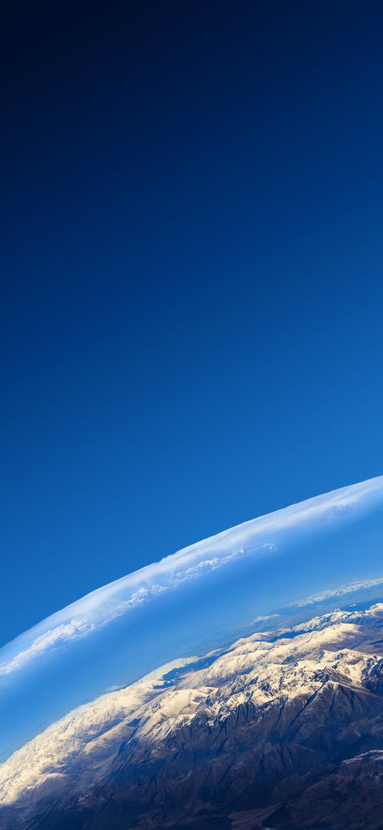 雪山 平流层 大气层 蓝色 天空