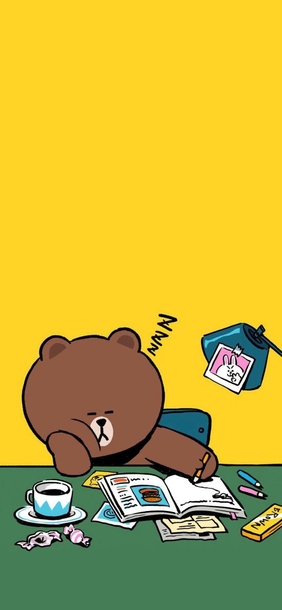 布朗熊 linefriends 书桌 黄色 可爱 卡通