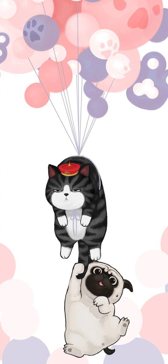 巴扎黑 吾皇 猫 狗 气球 萌