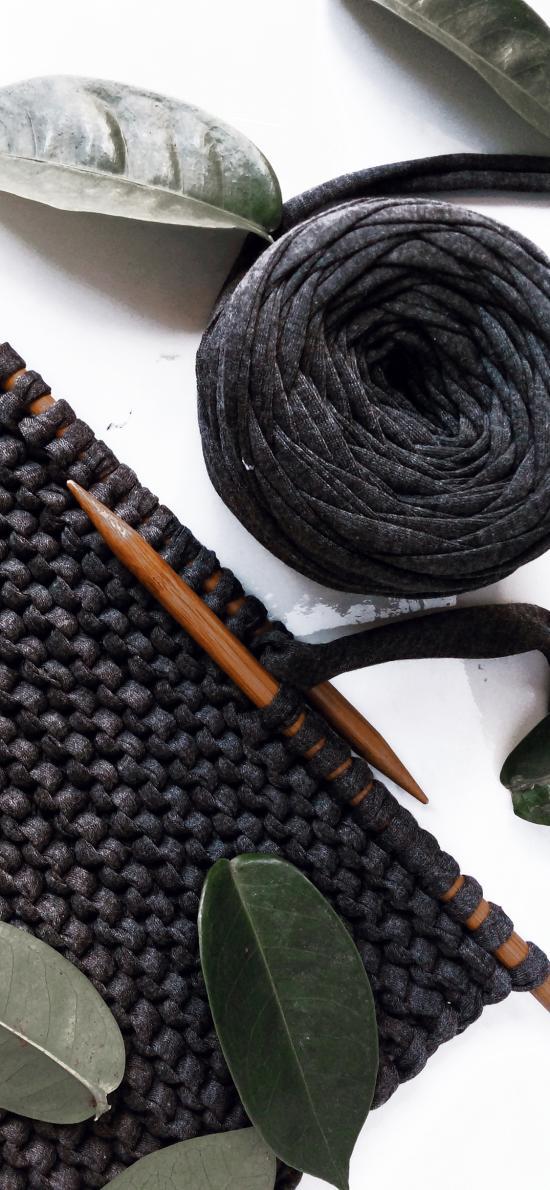 手工 針織  毛線 樹葉