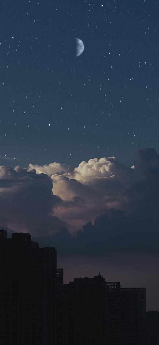 夜空 月亮 星空 夜晚