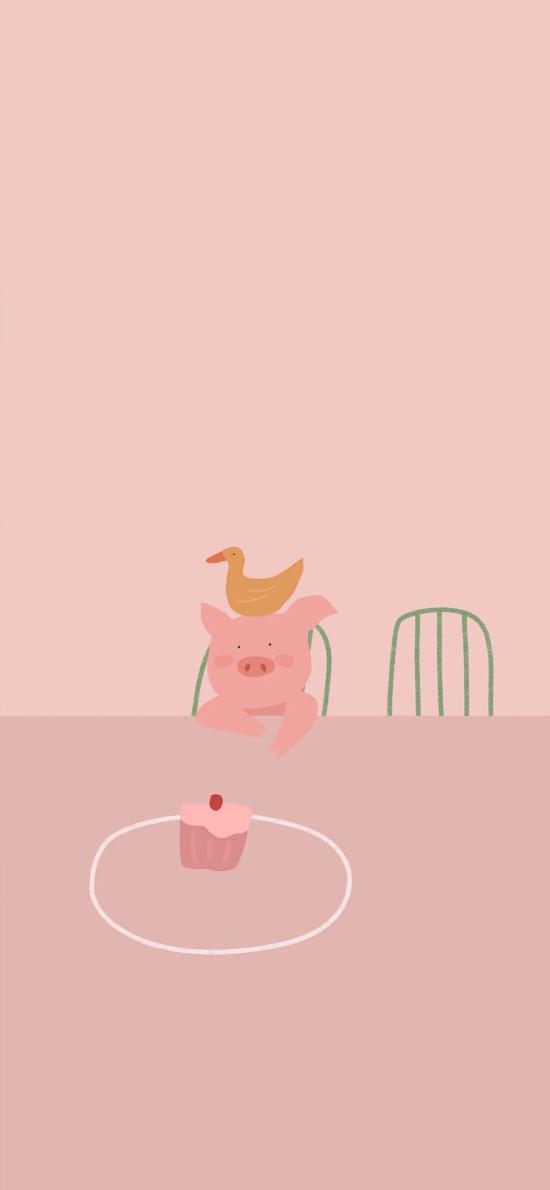粉色 卡通 猪猪 鸭子 蛋糕