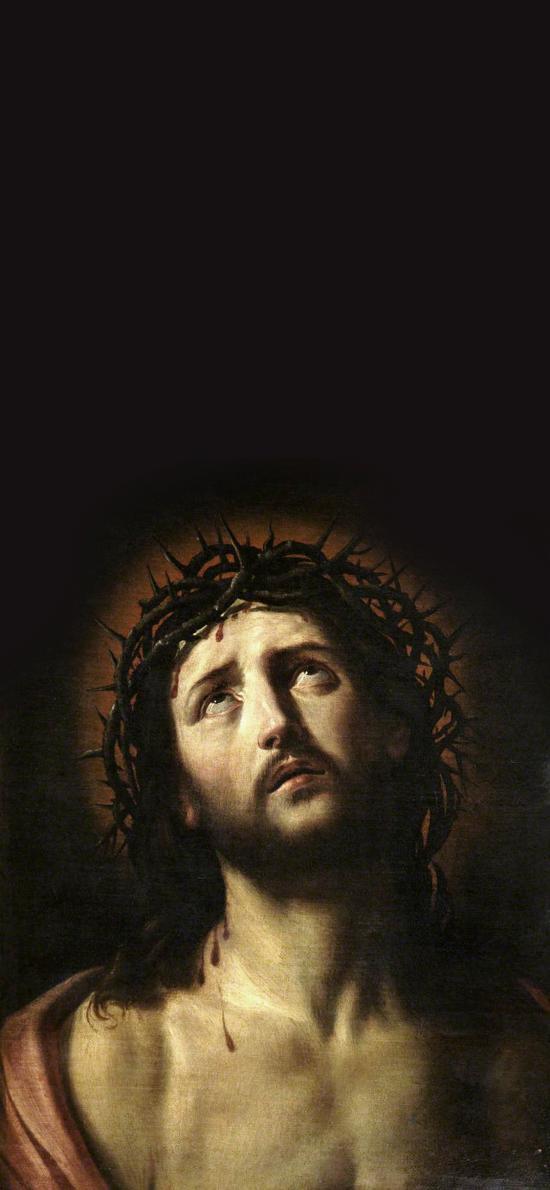 受难日 荆棘 皇冠 耶稣 油画