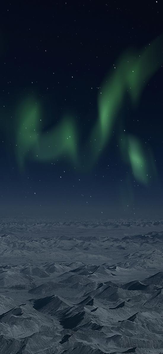 极光 雪山 自然 天文现象 夜晚