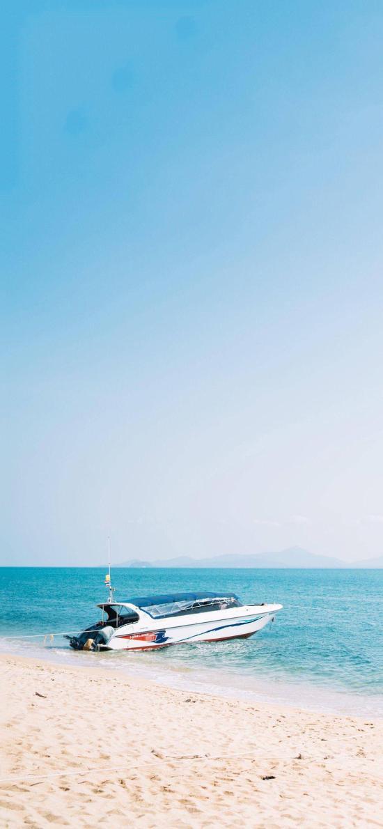 快艇 船 海边 沙滩 蓝色