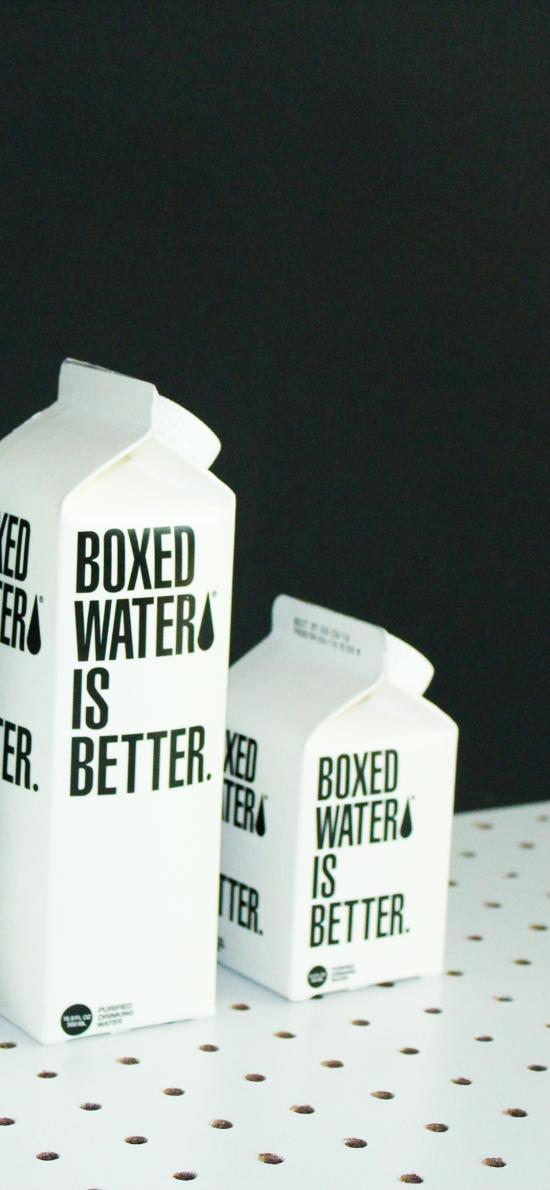 饮用水 盒装水 boxed water 黑白