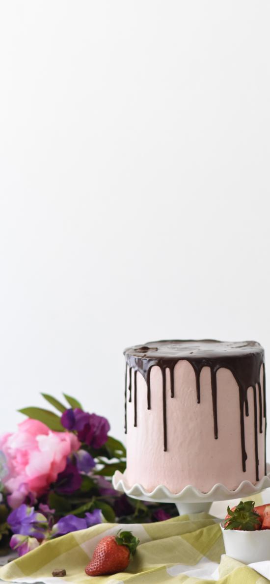 甜品 巧克力酱 草莓 鲜花 蛋糕