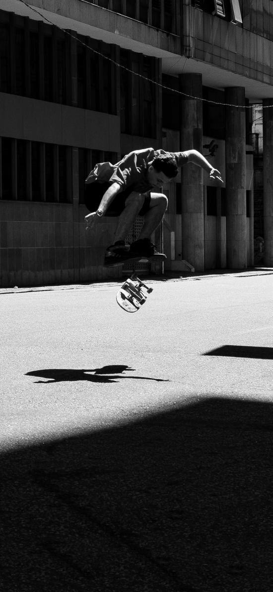 滑板 运动 黑白 花式 户外 男子