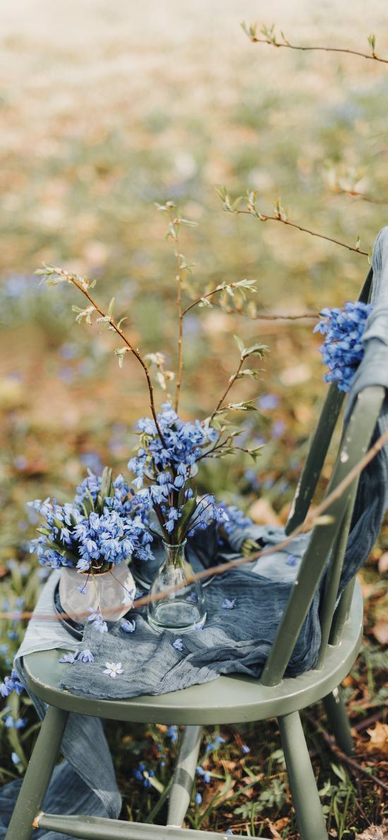 草地 椅子 花瓶 鮮花 紫色