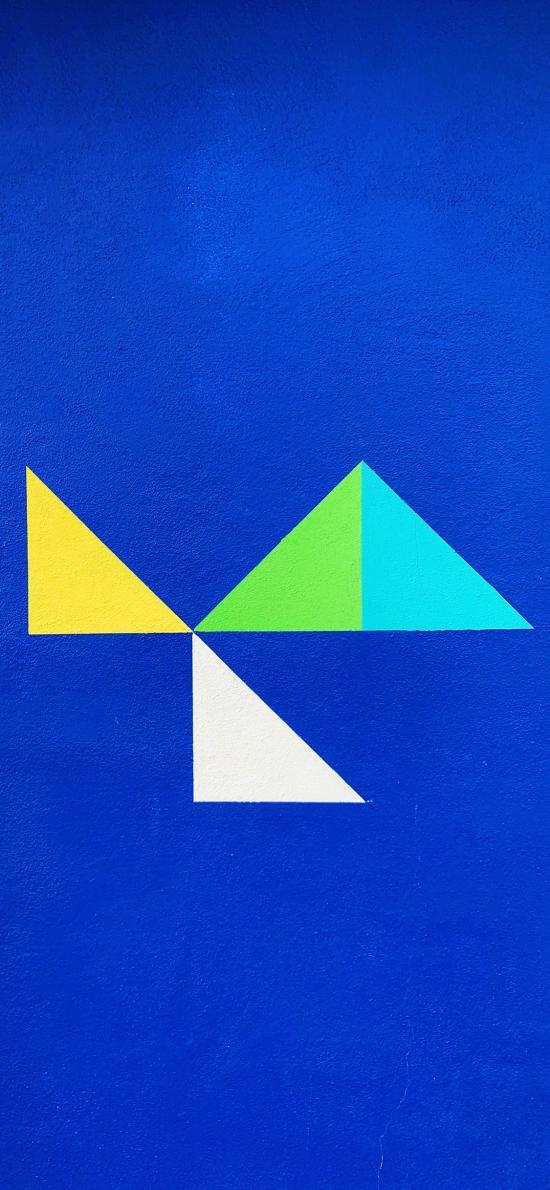 墙绘 几何 三角 色彩 蓝色