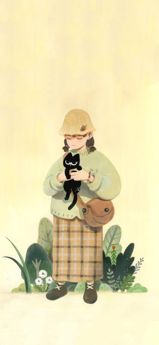 女孩 插画 黑色猫咪 文艺