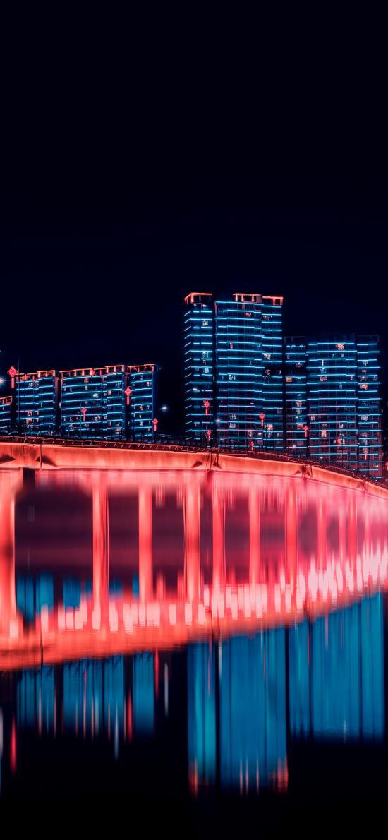 城市 夜景 高楼建筑 倒影
