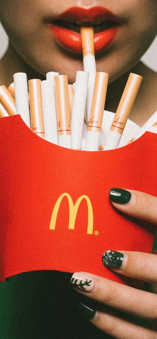 广告 寓意 香烟 薯条盒