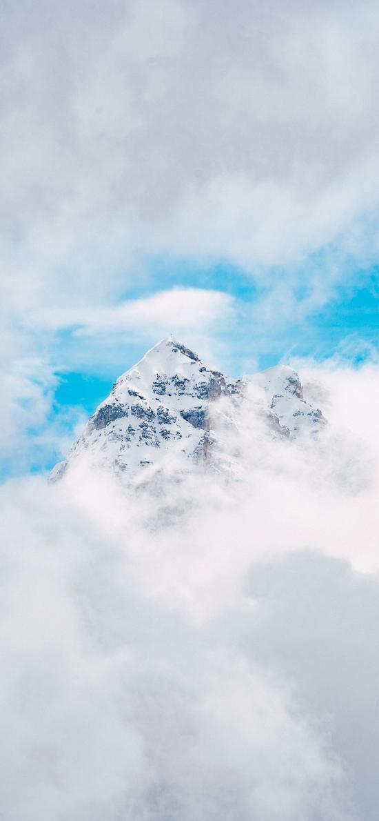 景色 山顶 云层 天空 蔚蓝