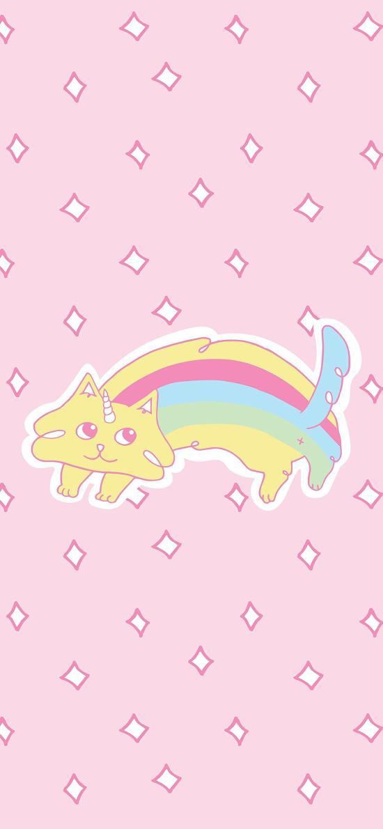 卡通 可爱 独角猫 彩虹 粉