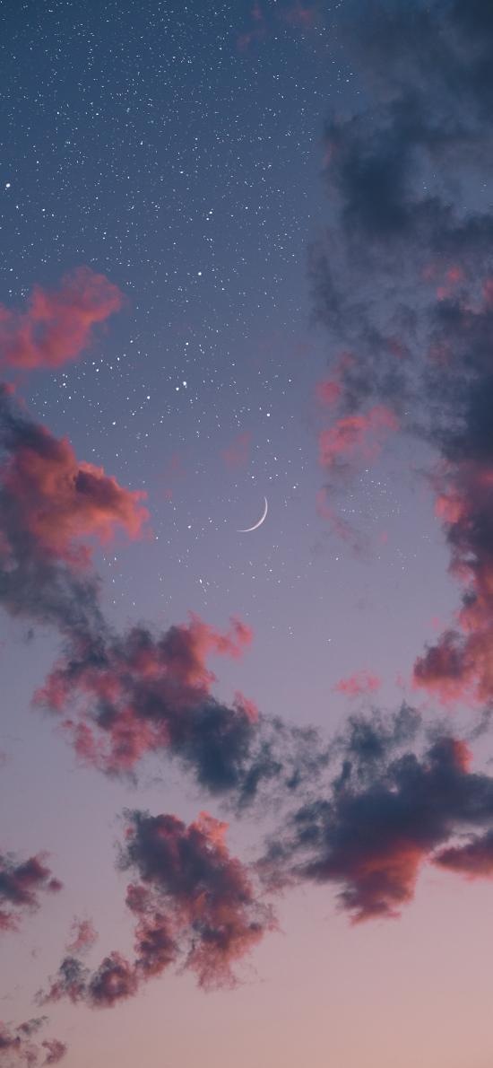 星空 云朵 月亮 星星 唯美 璀璨