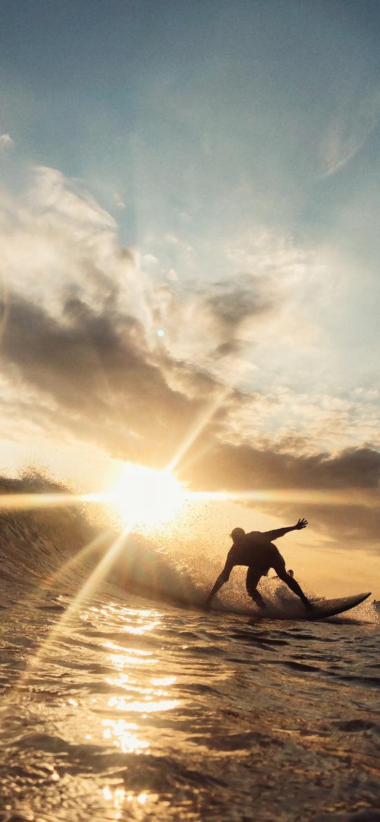 冲浪 夕阳 天空 云彩 海浪