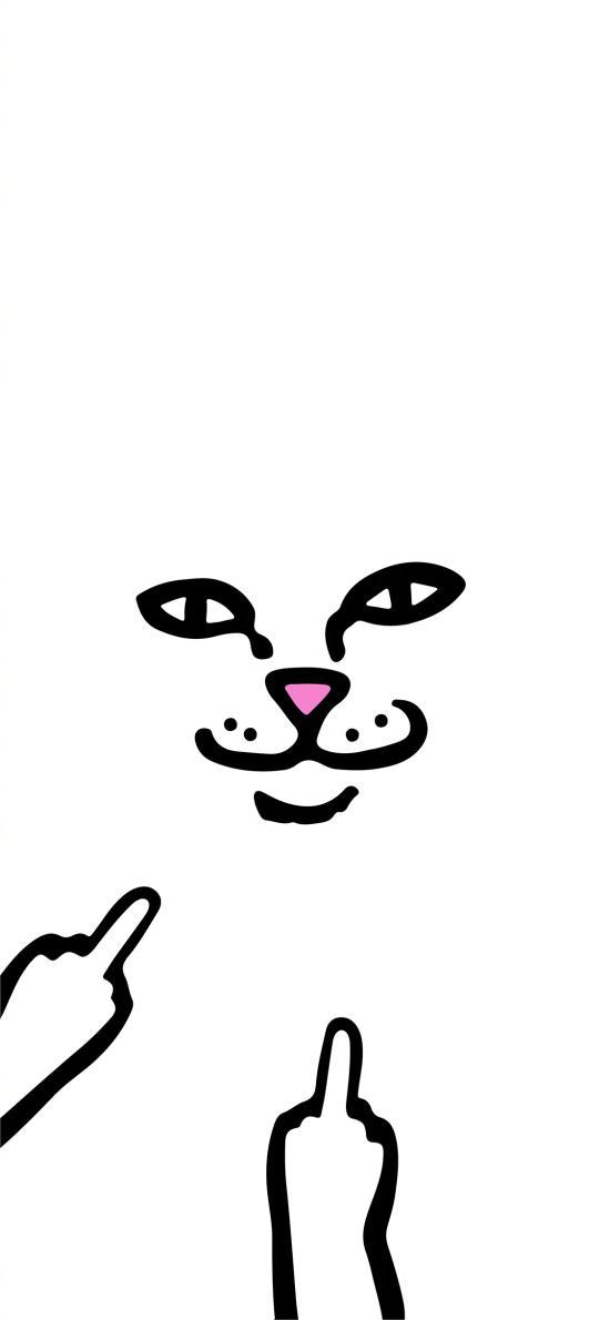 中指 手势 猫咪 插画 黑白