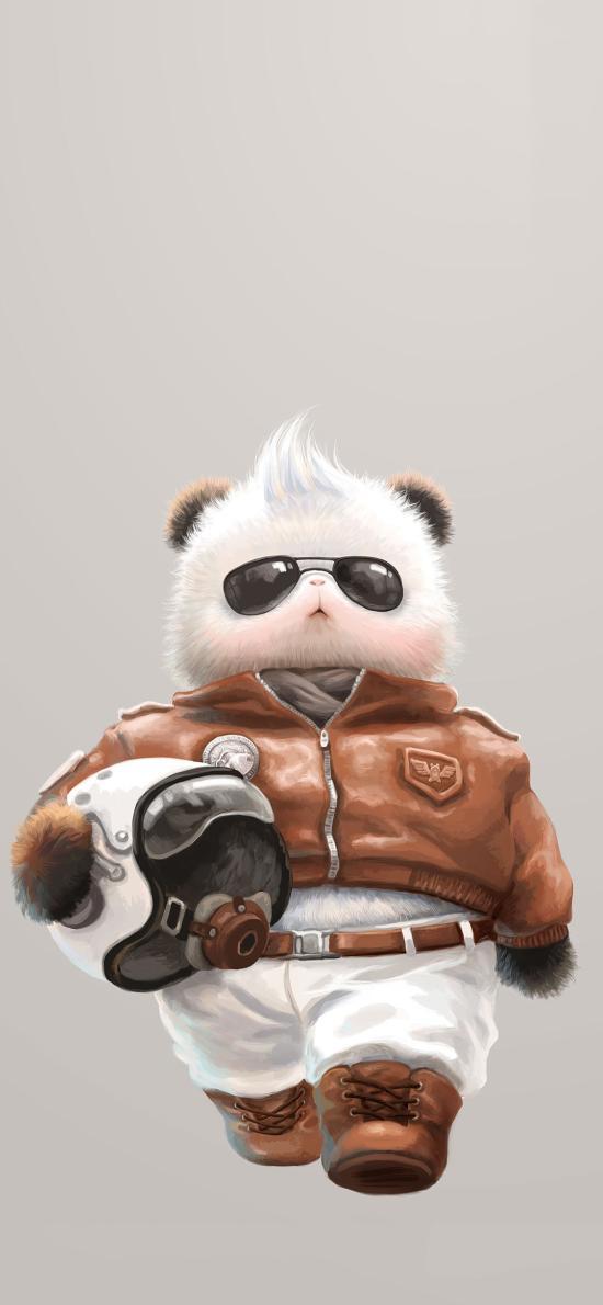 绘画 帅气 飞行员 熊猫