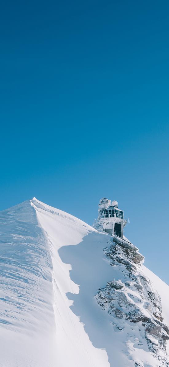 雪峰 哨岗 蔚蓝 蓝天