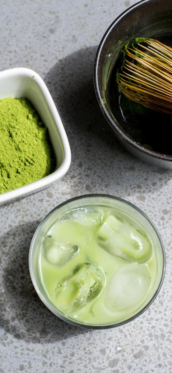 饮品 冰块 茶具 抹茶粉