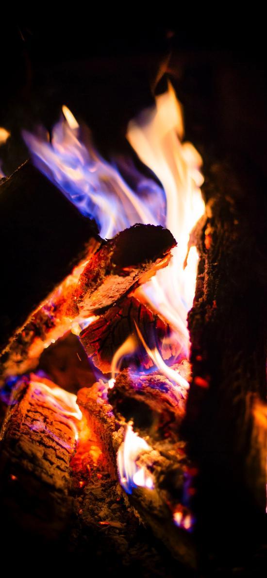燃烧 木柴 火焰 夜晚