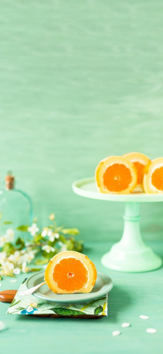 烘焙 甜品 蛋糕卷 橙子