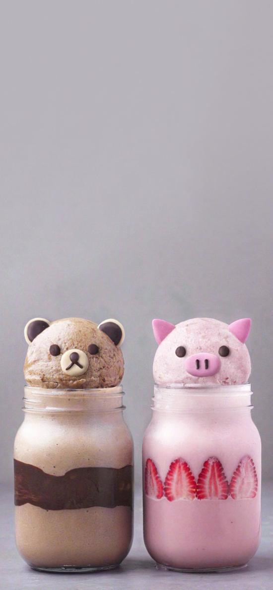 饮品 调制 创意可爱 猪头 草莓