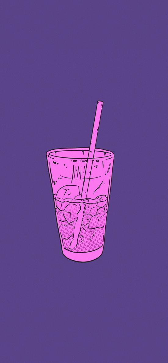 饮品 插画 紫色背景 插画师:Cuna