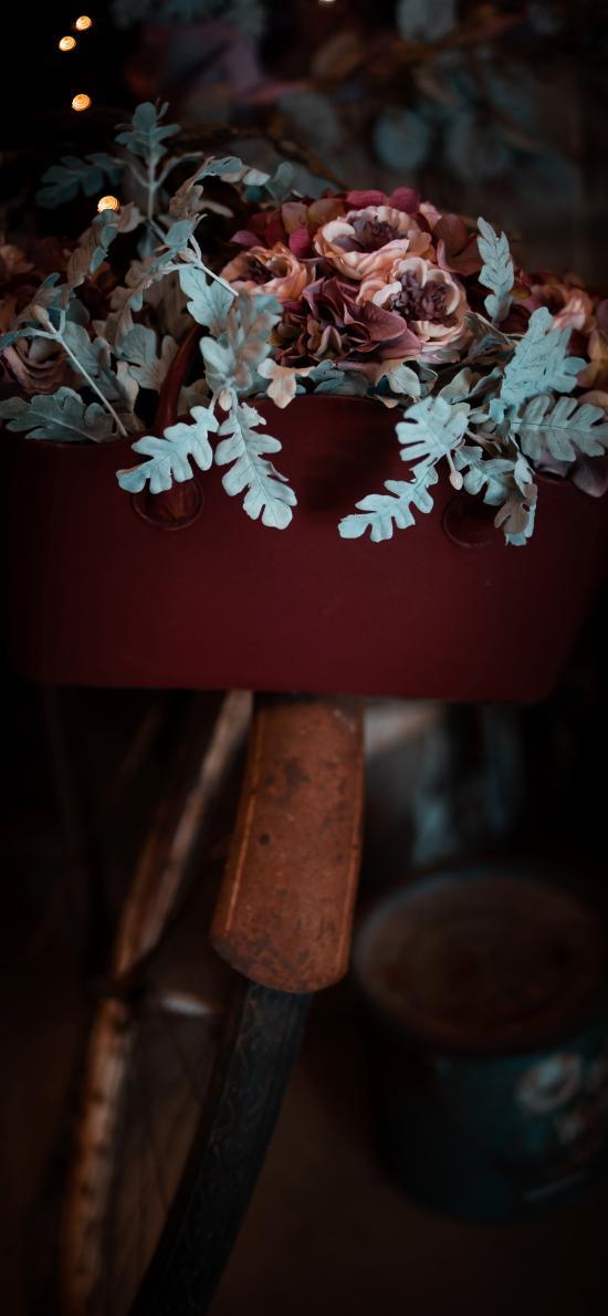 单车 后座 鲜花 搭配 简雅
