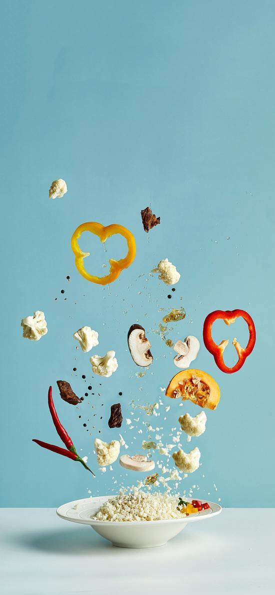 食材 彩椒 西蓝花 蘑菇