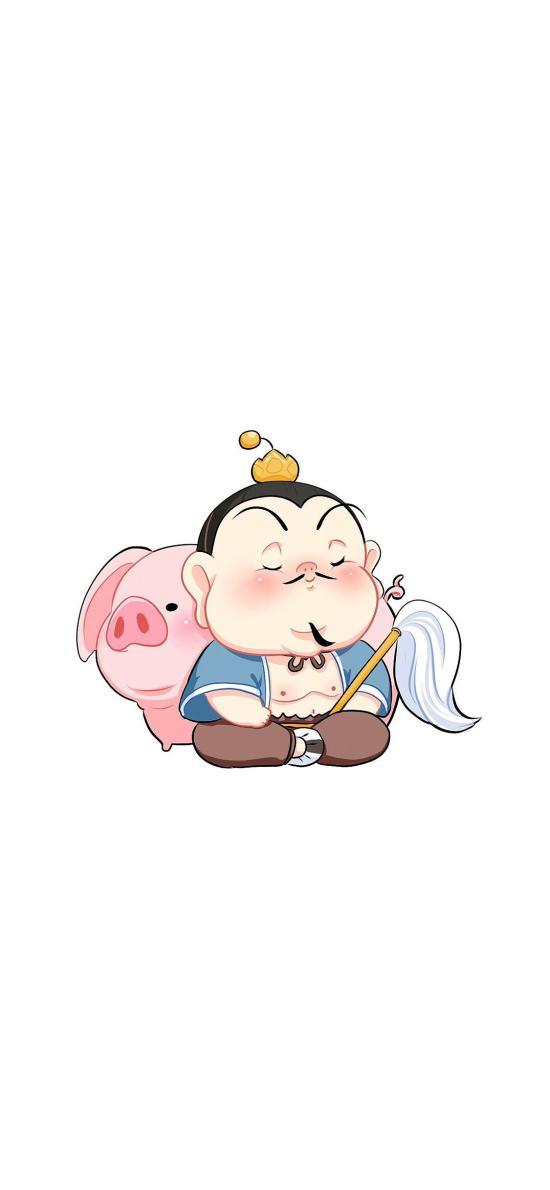 插画 太乙真人 哪吒 猪 卡通