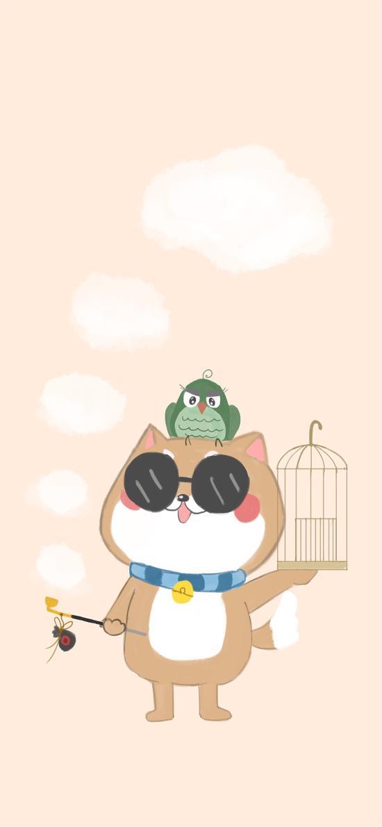 卡通 柴犬 可爱 鸟笼 遛鸟
