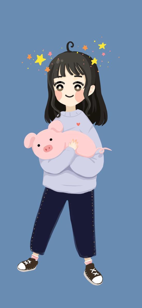 插画 女孩 可爱 卡通 猪