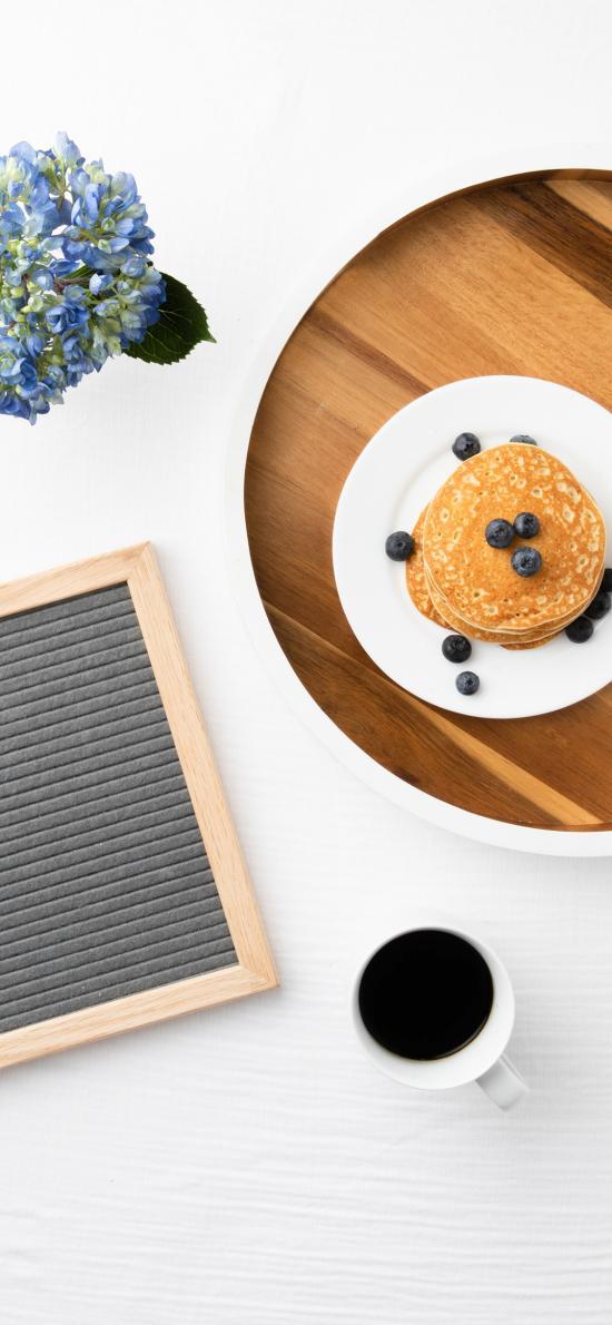 松饼 蓝莓 托盘 咖啡