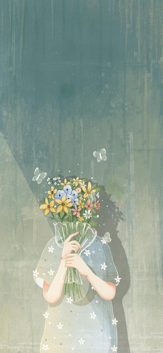 插画 花束 女孩 蝴蝶 唯美