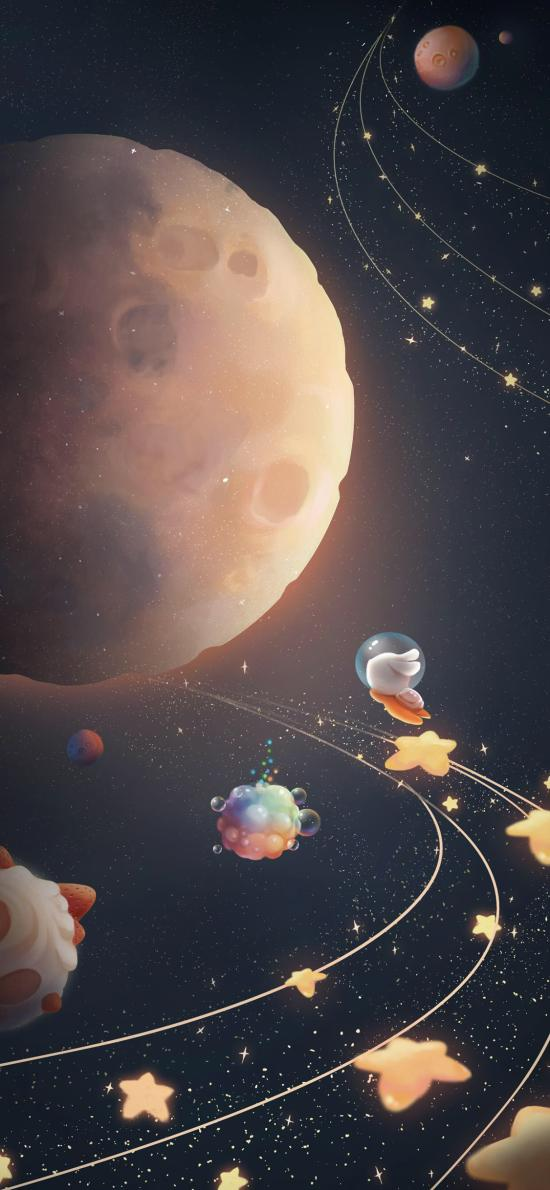 月球 兔子 奔月 星星