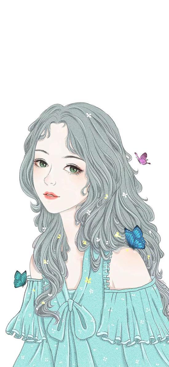 女孩 绘画 插画 线条 蝴蝶