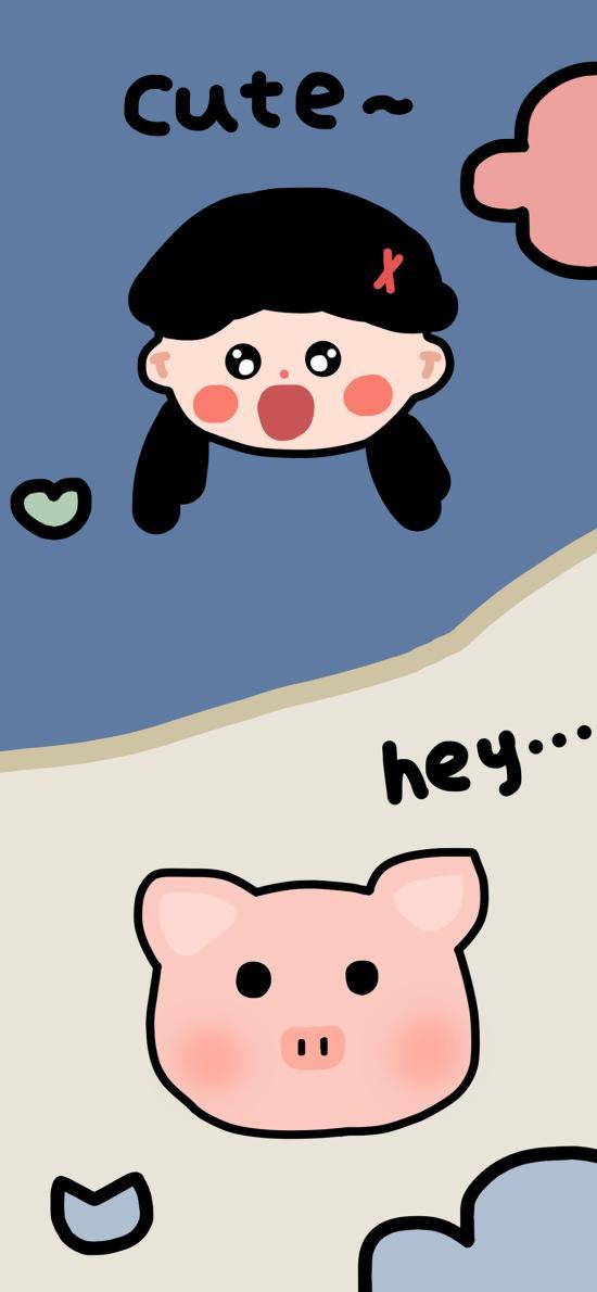 卡通 cute 猪头 女孩 hey