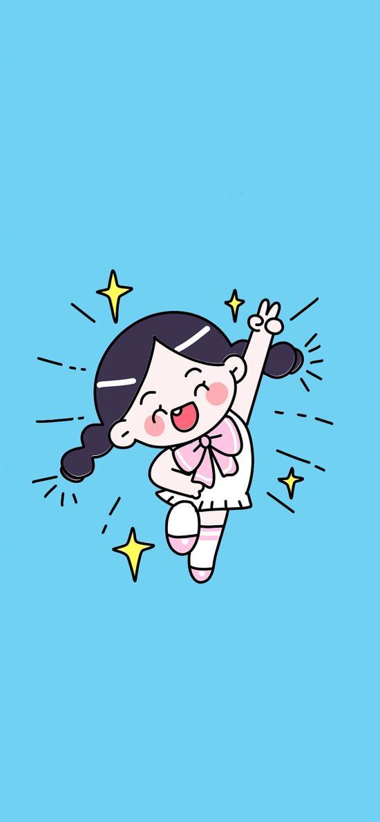 卡通 欢乐 剪刀手 闪耀 女孩 蓝