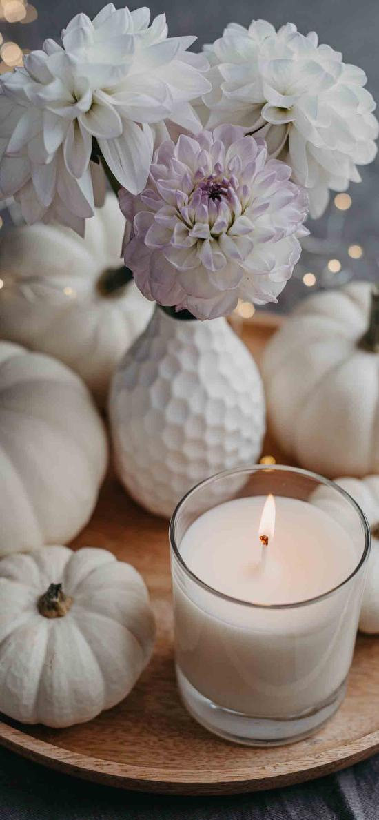 食材 南瓜 白色 香薰蠟燭 靜物