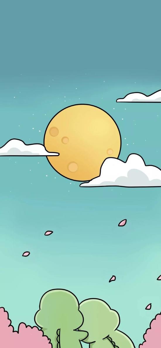 卡通 小恐龍 賞月 背影