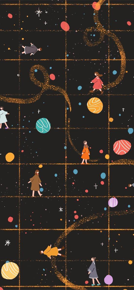 插圖 行星 小女孩 夢幻