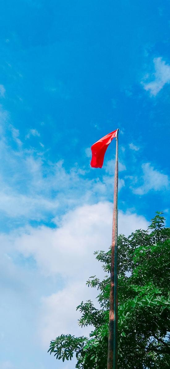 藍天白云 國旗 中國國旗 五星紅旗