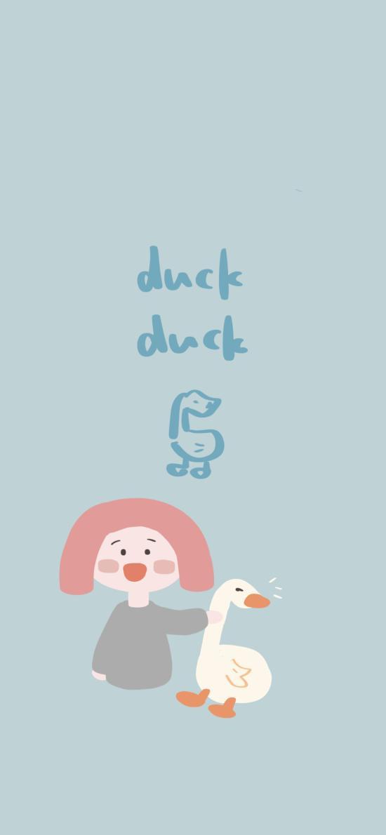 duck 绘画 蓝 卡通